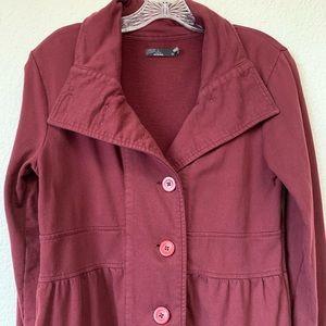 Prana Cotton Fleece Sweatshirt Coat Medium